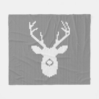 Deer Silhouette in Christmas Ugly Sweater Knitting Fleece Blanket