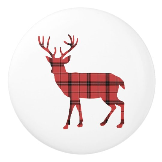 Deer Silhouette Red and Black Plaid Tartan Ceramic