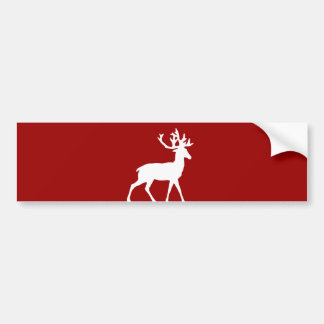 Deer Silhouette - Red and White Bumper Sticker