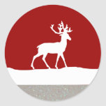 Deer Silhouette - Red and White Round Sticker