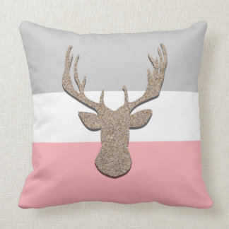 Deer Silhouette, Stag On Blue and Grey Cushion