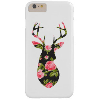 Deer Silhouette with Romantic Floral Vintage Roses Barely There iPhone 6 Plus Case