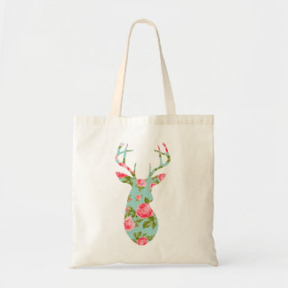 Deer Silhouette with Romantic Floral Vintage Roses Tote Bag
