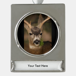 deer silver plated banner ornament