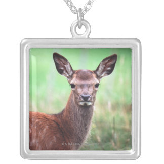 deer silver plated necklace