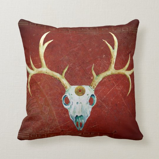 Deer Skull Antlers Ox Blood Gold Native American