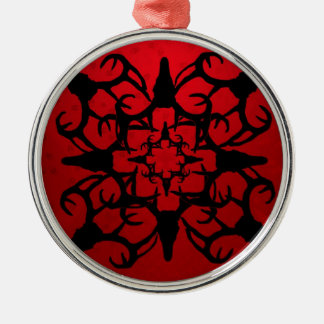 Deer Skull Design in Black and Red Christmas Ornament