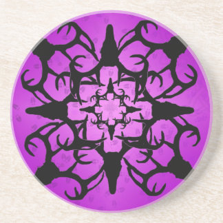 Deer Skull Design in Purple and black Coaster