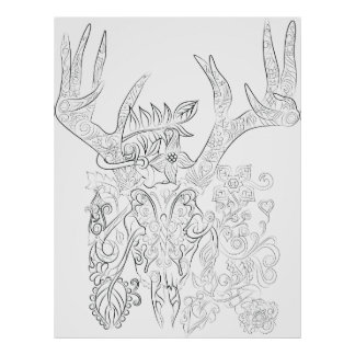 deer skull drawing adult colouring poster