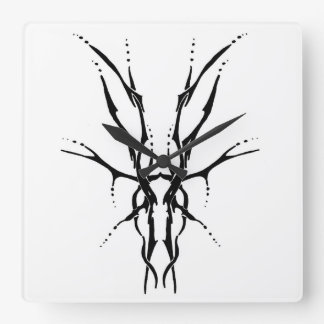 Deer Skull Tribal Tattoo - black and white Square Wall Clock