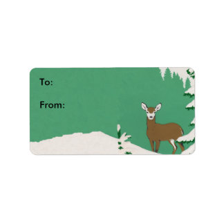 Deer Snow Winter Scene Gift Tag