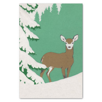 "Deer Snow Winter Scene Pine Tree 10"" X 15"" Tissue Paper"