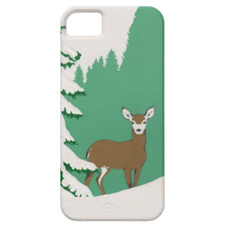 Deer Snow Winter Scene Pine Tree Case For The iPhone 5