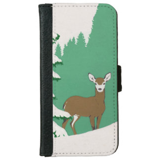 Deer Snow Winter Scene Pine Tree iPhone 6 Wallet Case