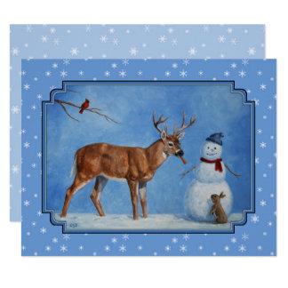 Deer & Snowman Christmas Snowflakes 11 Cm X 14 Cm Invitation Card