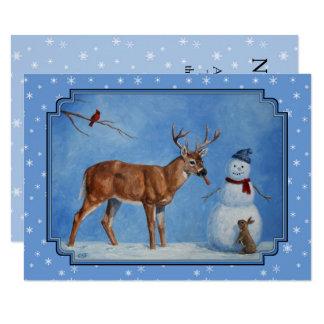 Deer & Snowman Christmas Snowflakes 9 Cm X 13 Cm Invitation Card