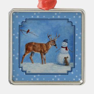 Deer & Snowman Christmas Snowflakes Christmas Ornament