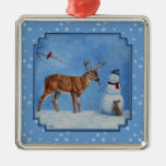 Deer & Snowman Christmas Snowflakes Silver-Colored Square Decoration