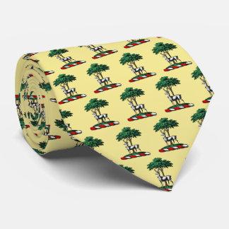 Deer Stag by Tree Heraldic Crest Emblem Tie