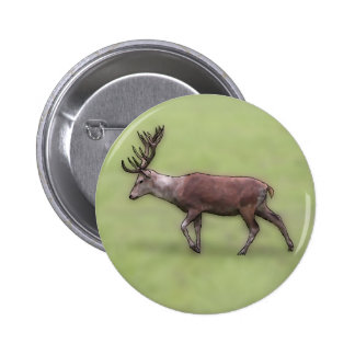 Deer Stag, Digital Art. 6 Cm Round Badge