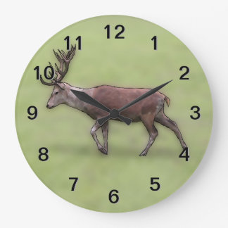 Deer Stag, Digital Art. Large Clock