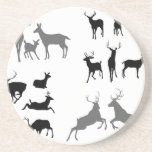 Deer stag fawn and doe silhouettes beverage coasters