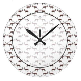 Deer Stag Pattern. Large Clock