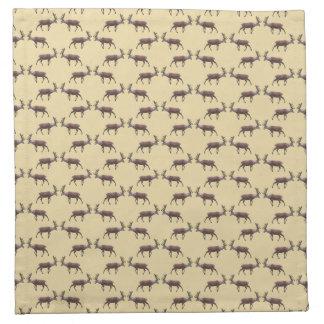 Deer Stag Pattern on Beige. Napkin
