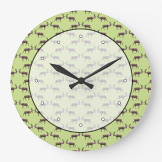 Deer Stag Pattern on Green. Large Clock