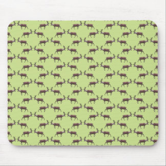 Deer Stag Pattern on Green. Mousepad
