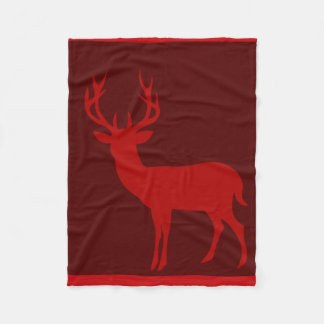 Deer Stag Silhouette | burgundy red Fleece Blanket