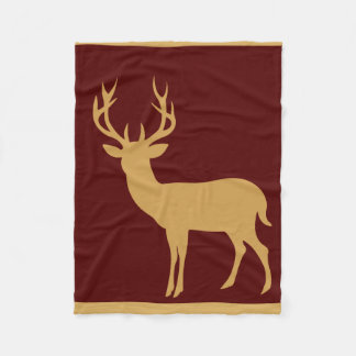 Deer Stag Silhouette | burgundy tan Fleece Blanket