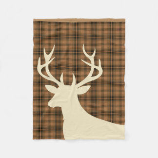 Deer Stag Silhouette Plaid | tan brown ivory Fleece Blanket