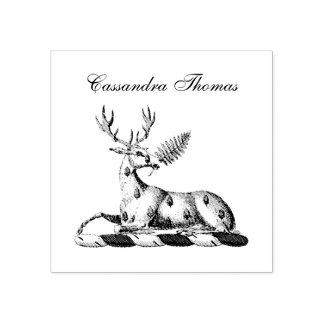 Deer Stag with Fern Heraldic Crest Emblem Rubber Stamp