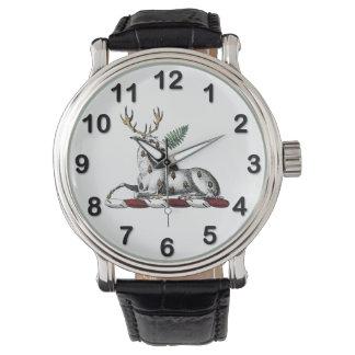 Deer Stag with Fern Heraldic Crest Emblem Watch
