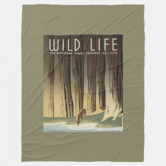 Deer & Stream Vintage Wildlife Poster Fleece Blanket