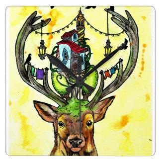Deer styles square wall clock