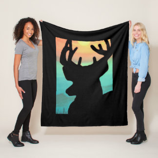 Deer Sunset Fleece Blanket
