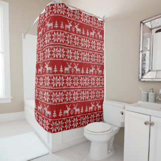 Deer Sweater Pattern Shower Curtain