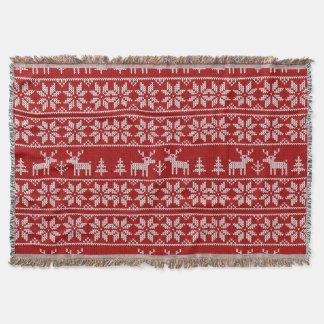 Deer Sweater Pattern Throw Blanket