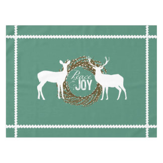 Deer Teal Peace Joy Pussy Willow Wreath Tablecloth