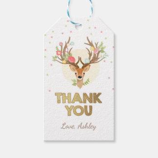 Deer thank you favor gift tag Woodland Pink Gold