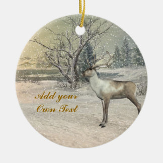 Deer, The Snow Is Beautiful, Christmas Ornament