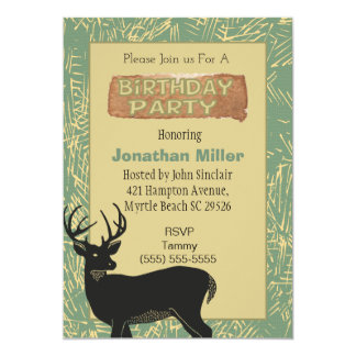 Deer Theme Birthday Party Invitation