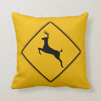 Deer Traffic, Traffic Warning Sign, USA Cushion