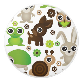 deer turtle bunny animal wallpaper ceramic knob