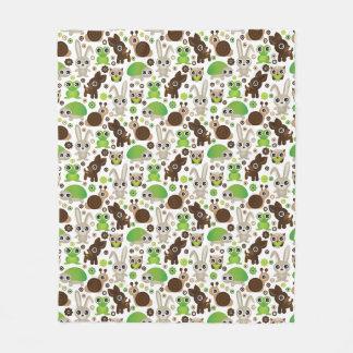 deer turtle bunny animal wallpaper fleece blanket