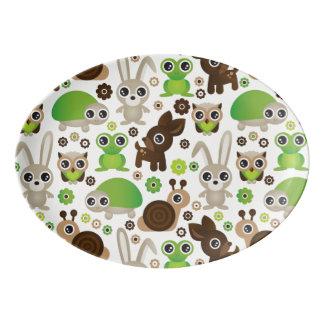 deer turtle bunny animal wallpaper porcelain serving platter