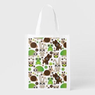deer turtle bunny animal wallpaper reusable grocery bag