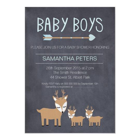 Deer Twin Boys Chalkboard Baby Shower Invitation